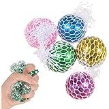 5 stycken squeeze meshboll, ZoneYan nätbollleksak, stressboll med nät glitter, fidget Toy stressboll, klämboll i nätet, för b