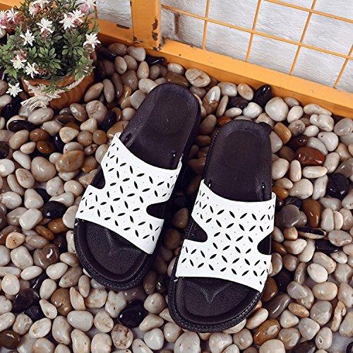 ZYUSHIZ Mme Chaussons épais d'été ouverte à fente plate avec Toe sandales 36
