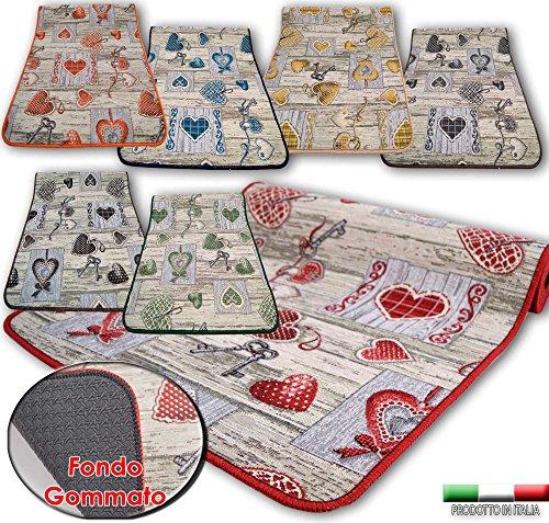 Centesimo web shop tappeto gommato in 7 misure - multiuso passatoia tappetino cucina fantasia shabby chic cuori - - 55x80 cm blu