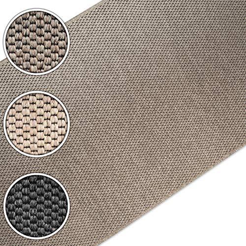 casa pura Teppich Läufer in Sisal Optik | Flachgewebe mit Tiger-Eye-Struktur | ausgezeichnet mit GUT-Siegel | kombinierbar mit Stufenmatten (Taupe, 80x150 cm)