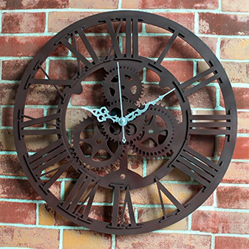 MCC Personalità creativa Gears Orologi da parete retro di modo dell'atmosfera stile antico europeo , (Antico Brown Parete Specchio)