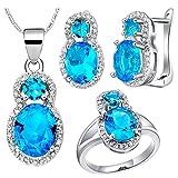 AnazoZ Schmuckset Stein Zirkonia Ohrringe, Halskette mit Anhänger, Verlobungsringe Eheringe Geschenk für Damen - Blau Größe 60 (19.1)