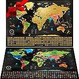 """Due Mappe Da Grattare: Mappa Del Mondo Da Grattare Con Bandiere (61x43 Cm) + """"Mappa a Sorpresa"""" (Degli Stati Uniti Oppure Dell'europa, 46x33 Cm) In Regalo. Poster Mappa Viaggi, Prodotti In Europa"""