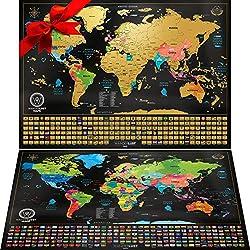 Weltkarte zum Rubbeln - Das Orginal von Wanderlust Maps. Zwei Karten - Rubbel Weltkarte (61 x 43cm) + Bonuskarte: USA landkarte oder Europakarte zum rubbeln (46x33 cm). Hergestellt in der EU