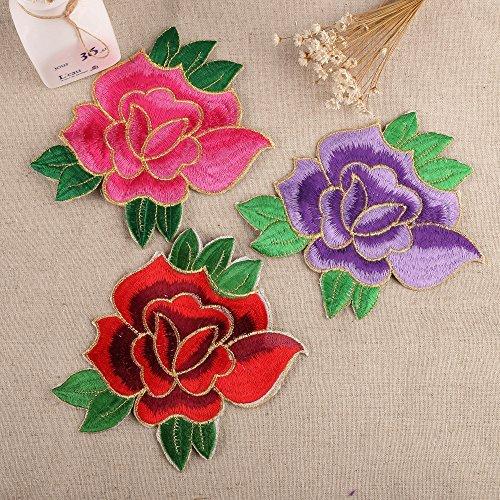 paire-de-rose-violet-rouge-150mm-tissu-fleur-motifs-a-repasser-a-coller-sur-a-coudre-broderie-ecusso