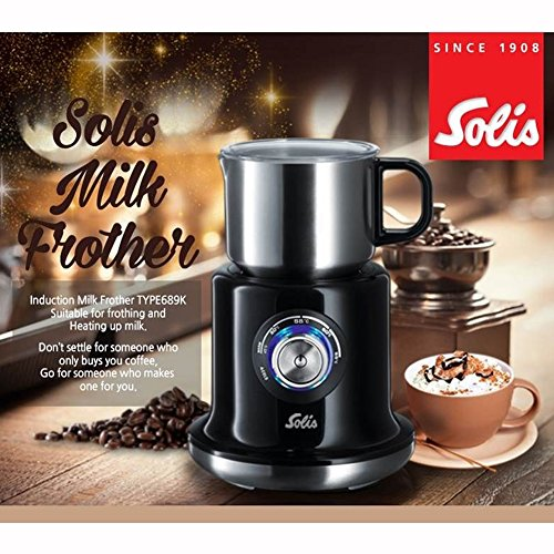 SOLISOEM Induction Milk Frother Stainless Steel Cordless Electric Milk Frother and Warmer, Velvety Hot and Cold Extra Foamy Froth