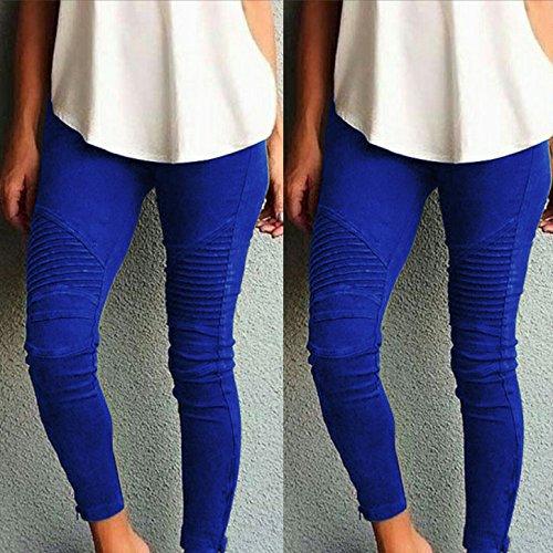 Culater® Mode Femme Pantalons Maigres Taille haute Taille Slim Pencil Pantalons Bleu