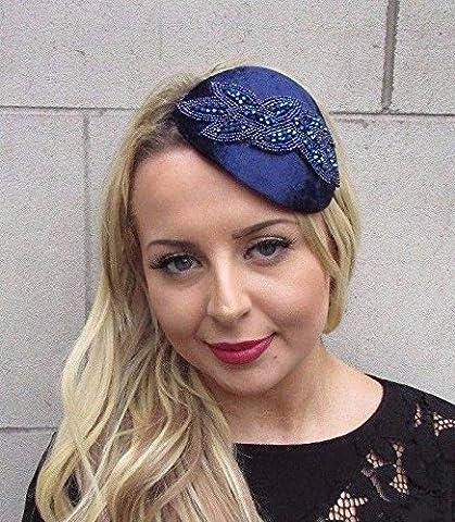 Starcrossed Boutique Navy Blue Velvet Beaded Fascinator Teardrop Races Wedding Headband Hat Vtg