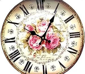 Horloge pendule murale retro vintage metal d cor roses for Pendule de cuisine amazon