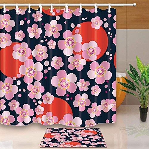 EdCott Japanisches Kirschblüten-Muster auf dunklem Hintergrund 71X71in Mildew beständiger Duschvorhanganzug aus Polyestergewebe mit 15,7x23,6 Zoll Flanell Rutschfeste Boden-Fußmatte-Badteppiche