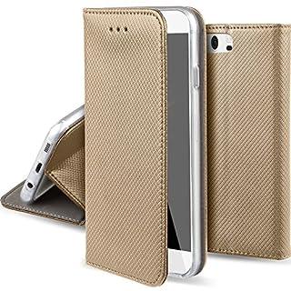 Moozy Hülle Flip Case für Huawei P10, Gold - Dünne magnetische Klapphülle Handyhülle mit Standfunktion