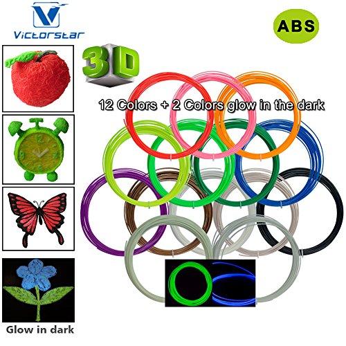 Victorstar @ 3D Stift Filament 12 Farben + 2 Farben Glühen in der Dunkelheit für die 3D-Druckfeder / 3D-Zeichenstift / Durchmesser 1,75 mm ABS-10 Metern (32.8ft) jede Farbe