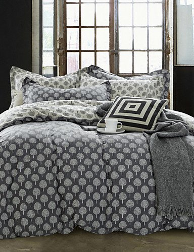 LIANGTT Vier Sätze Bettwäsche,einfache opulence100% Cotton Karikatur gedruckt Baum König Königin Bettbezug mit 1 Spannbetttuch und 2 Kissenbezüge eingestellt, King -