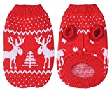 Yunt Haustier Hund Weihnachtskost¨¹m,Strickpullover Elch Hunde Pullover Hundbekleidung(Red,X-Large)