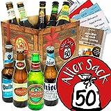 Alter Sack 50 - Bierbox mit Bieren der Welt - Geburtstagsgeschenk Mann
