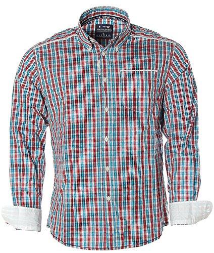 Kitaro Herren Langarm Hemd Button-Down Karo -Maritime Classics- True Red