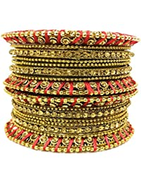 KANZ Traditional Antique Bangles/Chudiyan/Churi Gold Plated Rhinestone Topaz With Silk Thread Set Of 16 Pieces...