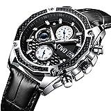 CIVO Herren Uhren Multifunktional Chronograph Datum Kalender Wasserdicht Analog Quarzuhr mit Schwarz Echtes Lederband Luxus Beiläufig Geschäft Mode Armbanduhr zum Männer mit Prismatisches Zifferblatt