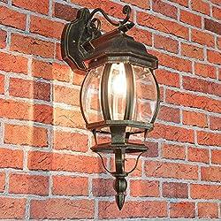 """Nostalgische Außenlampe Wandleuchte""""Brest"""" in antik hängend / IP23 E27 60W / Außenleuchte Wandlampe für Hof & Garten"""