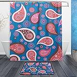 jstel Paisley Pink Blau 3-tlg Badezimmer Set, maschinenwaschbar für den täglichen Gebrauch, inkl. 152,4x 182,9cm Wasserdicht Duschvorhang, 12Dusche Haken und 1rutschfeste Badezimmer Teppich Carpet–Set von 3