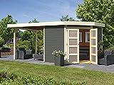 Karibu Gartenhaus GOLDENDORF 5 + Anbaudach 2,60m Länge terragrau 246x242cm 19mm