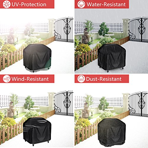 BBQ Cover, BBQ Waterproof Cover, Heavy Duty Gas Grill Cover 145 x 61 x 117 cm Include a Stainless Steel Grill Brush