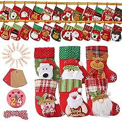 EKKONG 24 Calendario de Adviento, Calendario de Adviento Casero con 1-24 Adhesivos de Adviento y 24 Clip de madera, Bolsa de Regalo Navidad Decoración Navideña para Muchachos y Muchachas