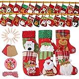 EKKONG 24 Calendrier de l'Avent DIY, Calendrier de l'Avent à remplir, Sacs-cadeaux avec 1-24 Autocollants, 24 Clip en bois pour Noël, Action de grâces Garçons et filles