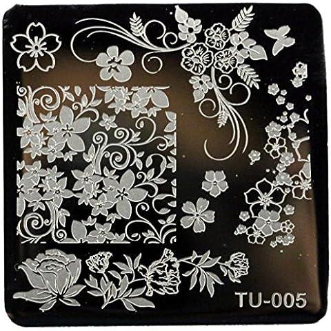 Plantilla de manicura, Oyedens Mujer 1Patrón Del Clavo De Diy La Imagen Del Arte Que Estampa La Plantilla Platea Manicura, 6X6cm