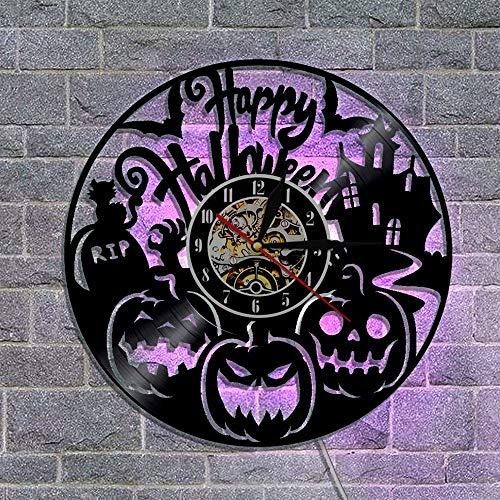 YNMB KS Happy Halloween Wanduhr Vinyl Gravur Laser Kürbis Schatten Kunst Dekoration LED Wandleuchte Wecker
