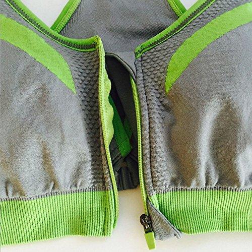 Cliont Soutien-gorge de fermeture à glissière avant à haute résistance pour femme Soutien-gorge Soutien-gorge large Soutien Push Up Gris