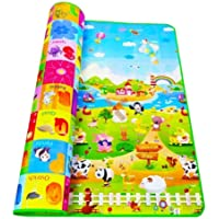 Home Stylish Double Sided Waterproof Baby Mat with Zip Bag (Multicolour, Large/6 X 4 ft)