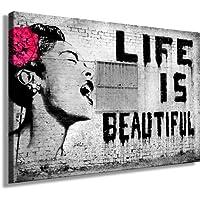 Impression sur toile Style graffiti de Banksy Reproduction pop art street art Toile sur châssis 120 x 80cm