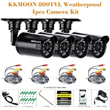 KKmoon Kit 4 Cámara Bala de Vigilancia 800TVL CCTV Lente 3.6mm Video 24 LED IR-CUT, Negro