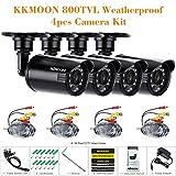 KKmoon 4er Set CCTV Kamera 800TVL Außenkamera Set IR CUT Kugel Kamera Videoüberwachungskamera 3.6mm