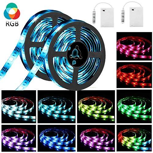 (LED Streifen batterie,SOLMORE 2x 2m LED Strip Lichtband Stripe Lichterkette Bänder IP65 Wasserdicht für Innen Außen Beleuchtung Dekorative SMD5050 DC4.5V + Battery Box)