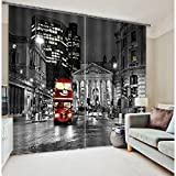 Wapel Autobús Moderno De La Ciudad De Londres 3D Cortinas Opacas para Salón Cama Habitación Hotel/Oficina Cortinas Cortina 240X260CM