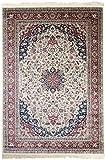 Carpeto Rugs Teppich Orientalisch Kurzflor 100% Viskose Rot Creme 160 x 230 cm L