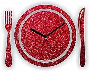 GLITTER KITCHEN WALL CLOCK RED