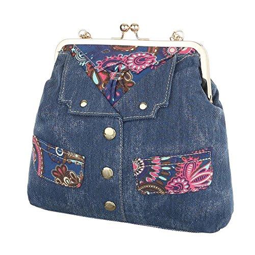 Damen Schultertasche Tragetasche Handtasche Schwarz Blau Blau