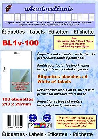 100 feuilles A4 papier adhésif blanc 210x297mm - pour impression laser, jet d'encre, Copieur, Grammage 70