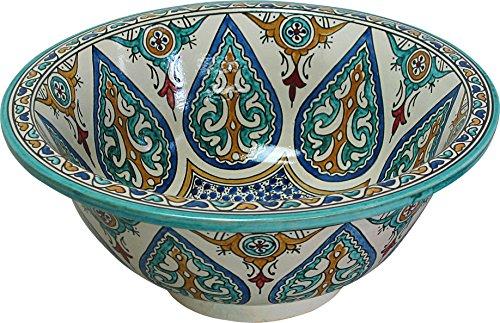 Sevilla Waschbecken aus Keramik, handbemalt, rund, innen nach außen, 14 cm hoch