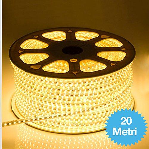 STRISCIA LED FLESSIBILE STRIP LED 5050 GIALLO INTERNO ESTERNO 220V BOBINA DA 20 METRI