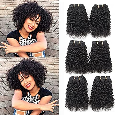 Brazilian curly hair weft 6A JERRY CURL 3 bundles thick and free tangle real human hair extensions 100g/pcs jet black color by originea (8'' 8'' 8'')