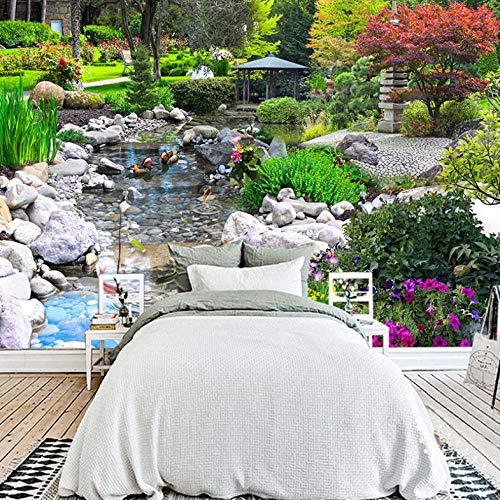 3D Fototapeten Wandbilder 3D Park Creek Blume Gras Landschaft Großes Wandbild Wasserdichte Leinwand Wandkunst Malerei Wohnzimmer-350X250CM