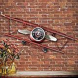 HMJZS Avion Rétro Américain Horloge Murale Salon Salle À Manger Tenture Murale Horloges De Fer