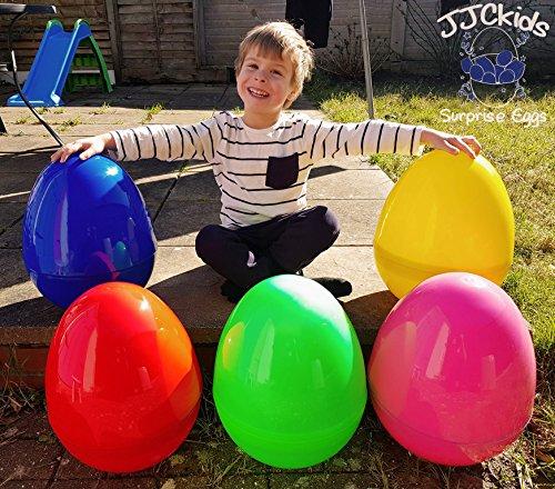 JJCkids Riesiges Kunststoff-Ei, 35,6cm hoch x 27,9cm breit, leeres Überraschungsei, Farben: Rosa, Rot, Grün, Gelb und Blau
