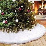 AMADE Weihnachtsbaum Röcke Plüsch Weihnachtsschmuck Kunstfell Weiß Plüsch XmasTree Rock für Weihnachtsdekoration Neujahr Party Urlaub Dekorationen(90cm Dia)