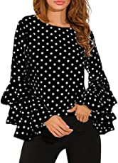 Saingace Women's Casual Bell Sleeve Loose Polka Dot Shirt Tops Loose Blouse T-Shirt