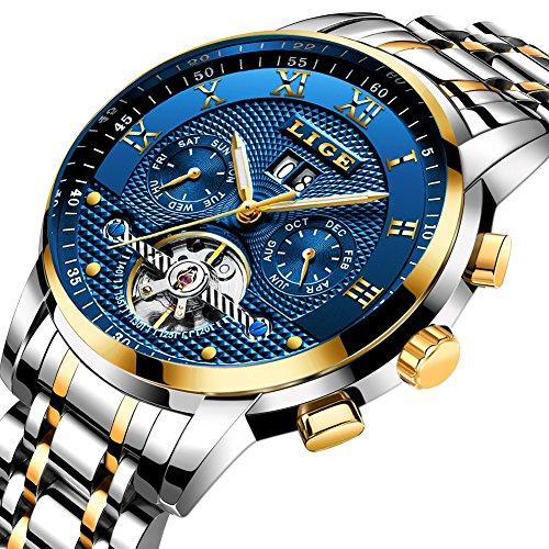 4db37e692737 Para hombre relojes primera marca lujo Lige automático reloj mecánico  hombres resistente al agua reloj de
